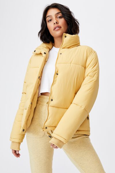 The Recycled Mother Puffer Jacket, HONEY MUSTARD