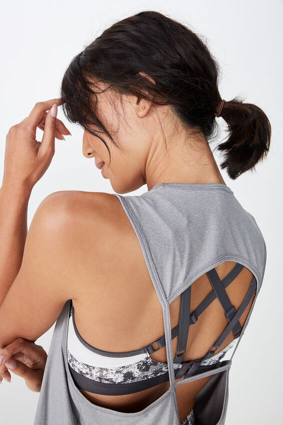Open Back Strappy Tank, MID GREY MARLE