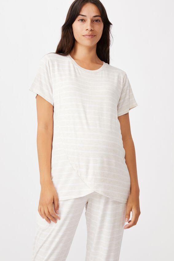 Sleep Recovery Maternity T Shirt, PORRIDGE STRIPE