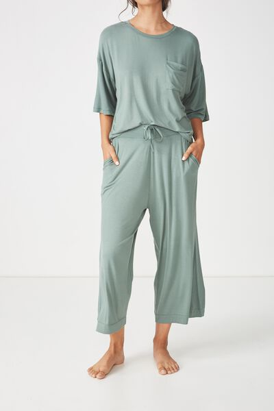 Sleep Recovery Culotte Pant, FERN GREEN