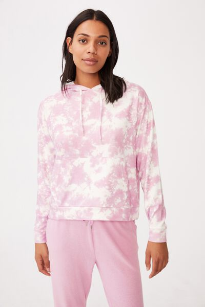 Supersoft Lounge Hoodie, MELLOW MAUVE TIE DYE