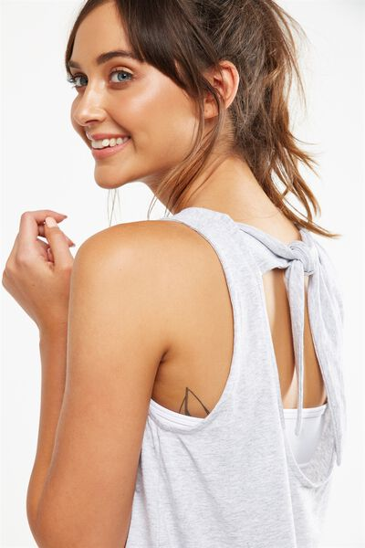 Scooped Knot Tank Top, GREY MARLE