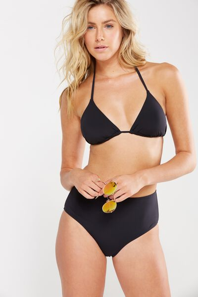 Seamless Sliding Halter Triangle Bikini Top, BLACK