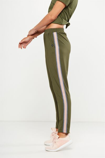 Striped Explorer Trackpant, OLIVE GREEN/TITANIUM/MISTY PINK