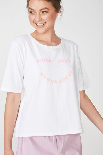 Boxy T Shirt, WHITE/DONT WANNA GET UP