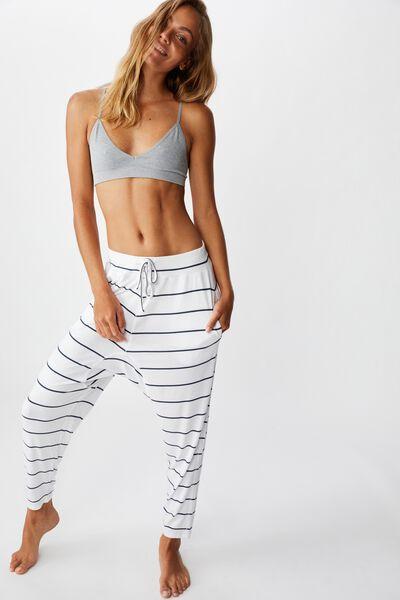 Sleep Recovery Drop Crotch Pant, WHITE/IRON STRIPE