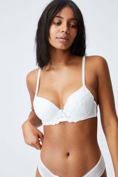 Brodie Balconette Push Up2 Bra, WHITE