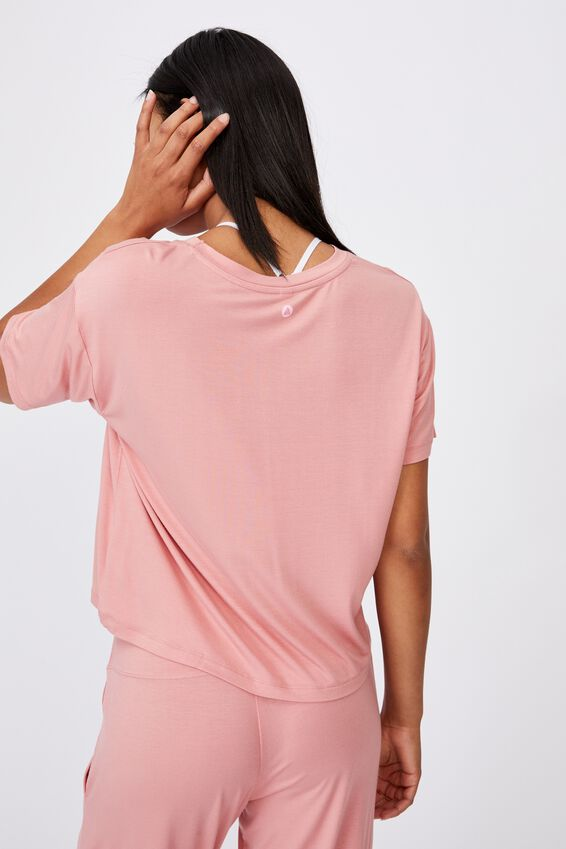 Sleep Recovery Crew T-Shirt, PINK ALMOND