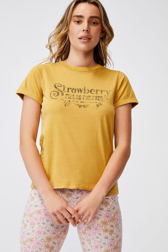 Ringer Sleep T-Shirt, LCN APP BEATLES STRAWBERRY FIELDS
