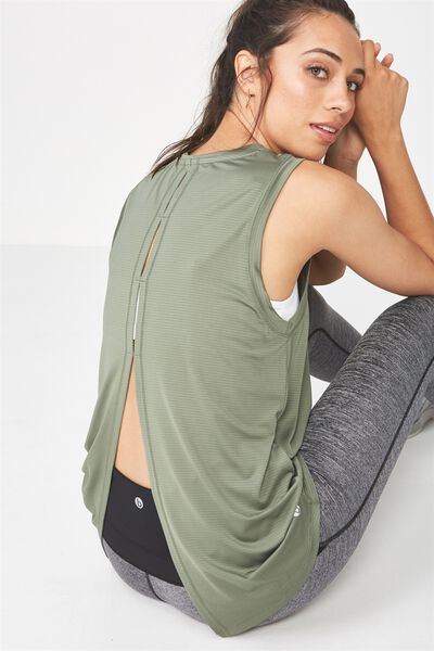 Split Back Tank Top, GREEN TEA