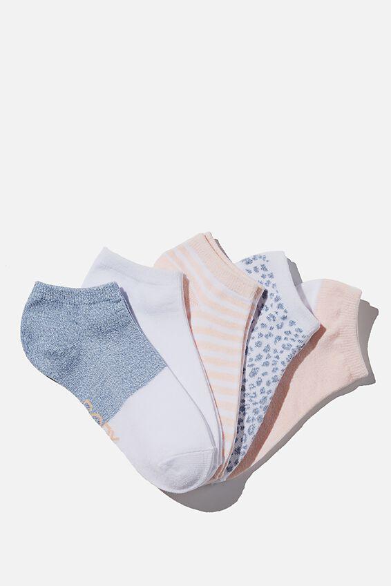 5Pk Body Ankle Cut Sock, BLUE JAY MULTI
