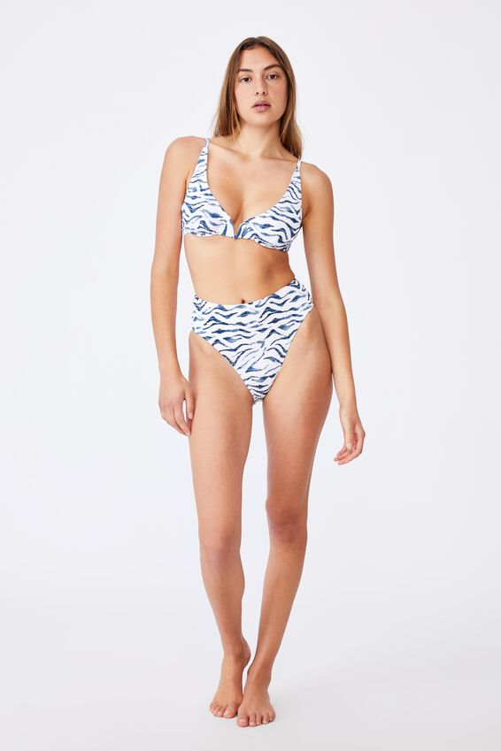 Half Wire Bralette Bikini Top, BLUESTONE ZEBRA SHIRRED V