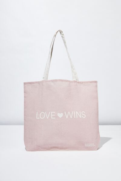 Foundation Tote Bag Adults, LOVE WINS LILAC