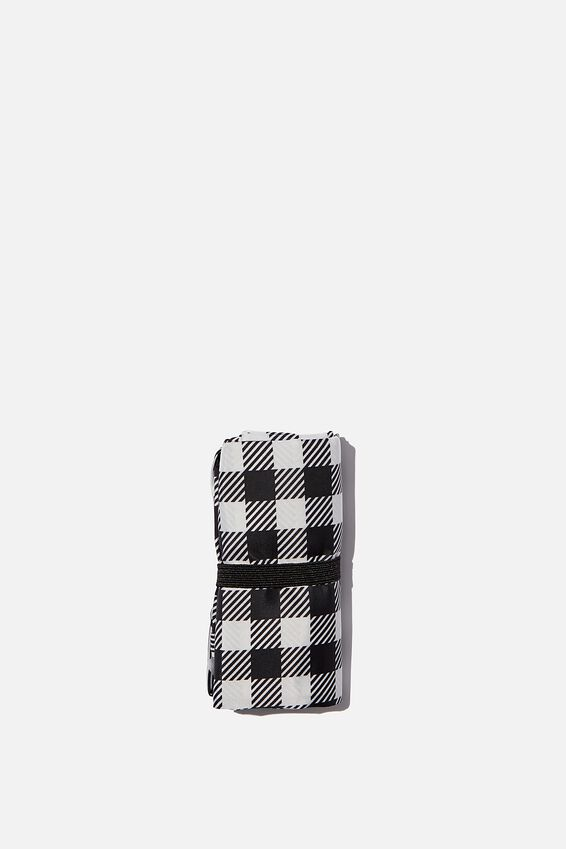 Foundation Recycled Foldable Shopper, BLACK GINGHAM ONLINE EXT