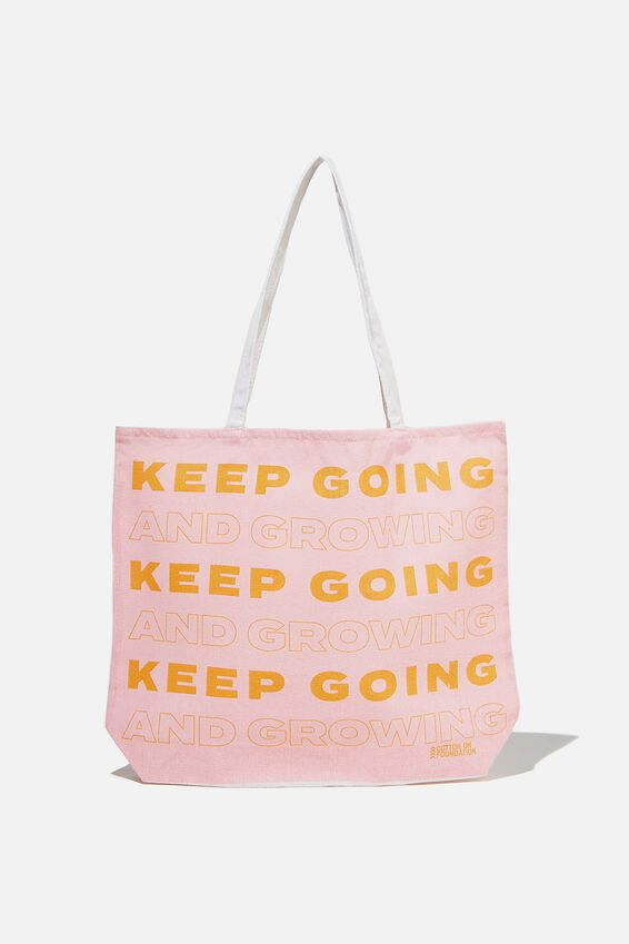 Typo Difference Tote Bag, KEEP GOING AND GROWING