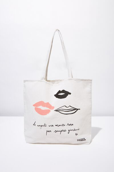 Cotton On Ladies Foundation Tote, LIPS