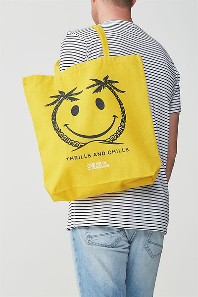 Cotton On Foundation Tote, THRILLS AND CHILLS SMILE