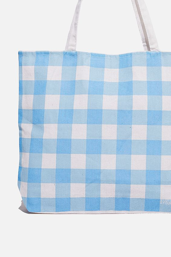 Foundation Co Brands Tote Bag, BLUE CHECK