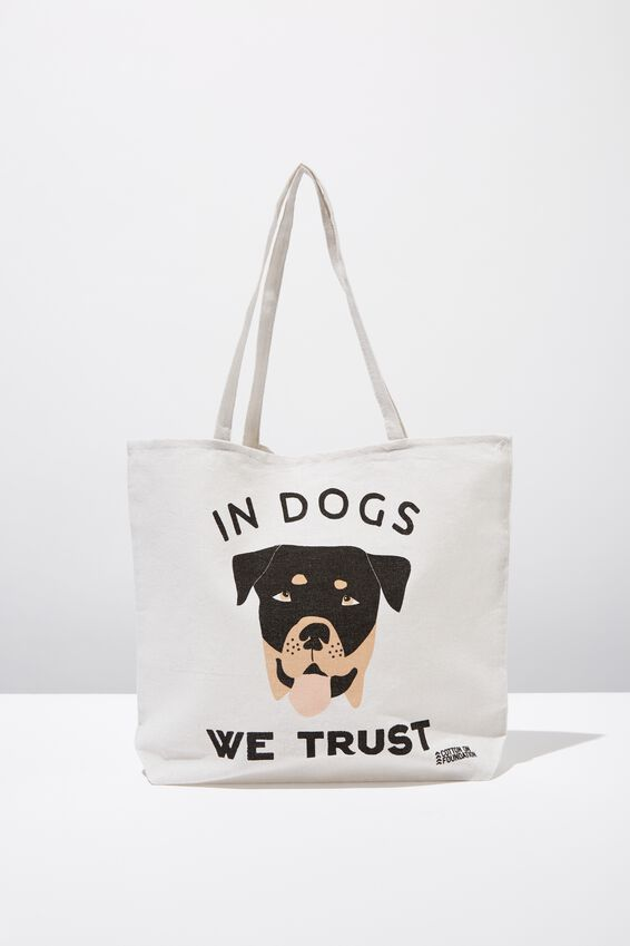 Typo Difference Tote Bag, IN DOGS WE TRUST