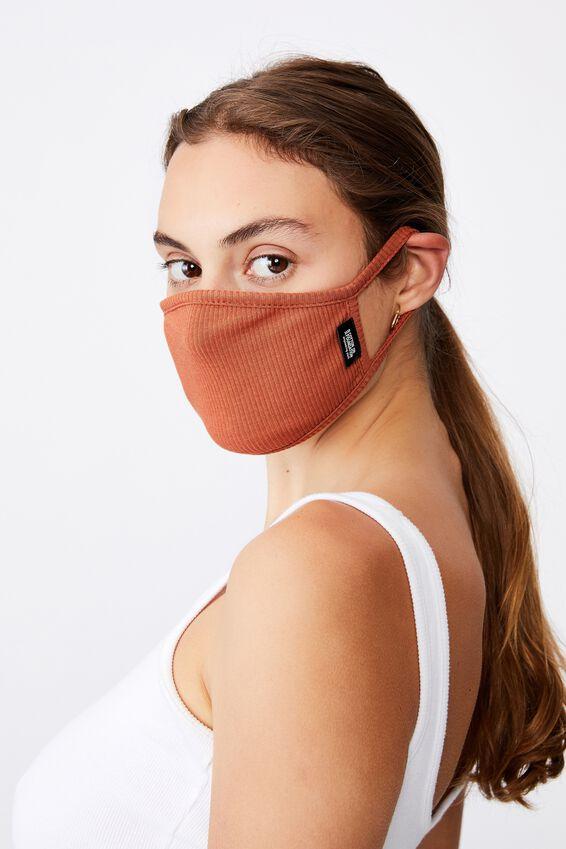 Foundation Rib Face Mask, RUST