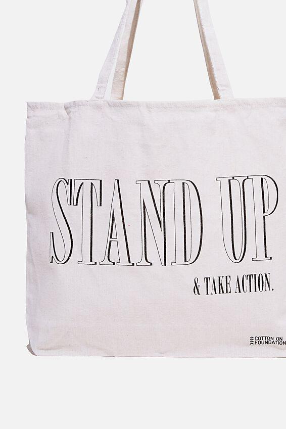 Foundation Co Brands Tote Bag, STAND UP BLACK