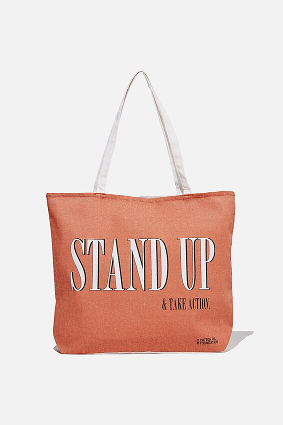 Foundation Co Brands Tote Bag, STAND UP EARTH RED