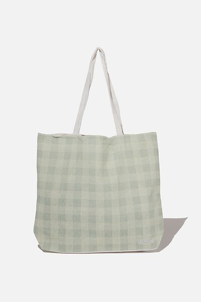 Foundation Co Brands Tote Bag, MIKA CHECK SAGE