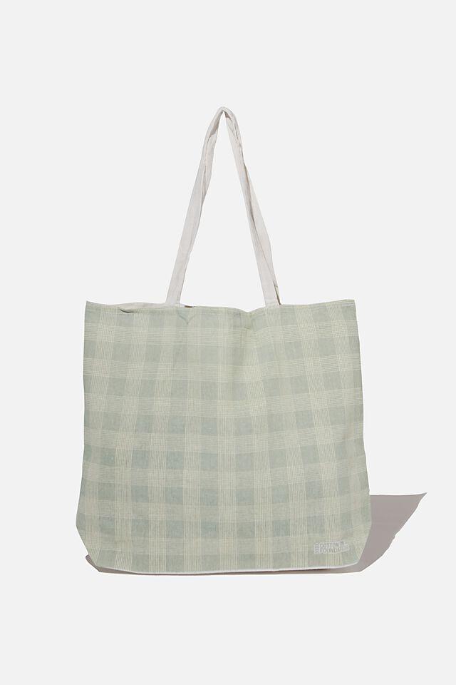 Foundation Co Brands Tote Bag, MIKA CHECK SAGE