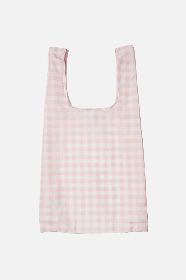 Foundation Recycled Foldable Shopper, PEACH GINGHAM ONLINE EXT.