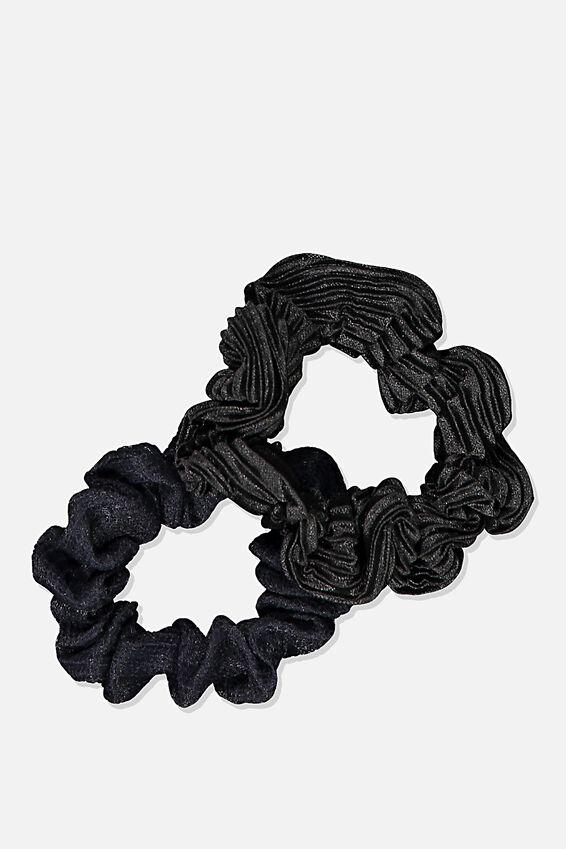 Cof Mini Scrunchie 2Pk, BLACK