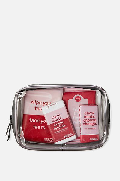 Cof Travel Kit, PINK STRIPE TRAVEL KIT