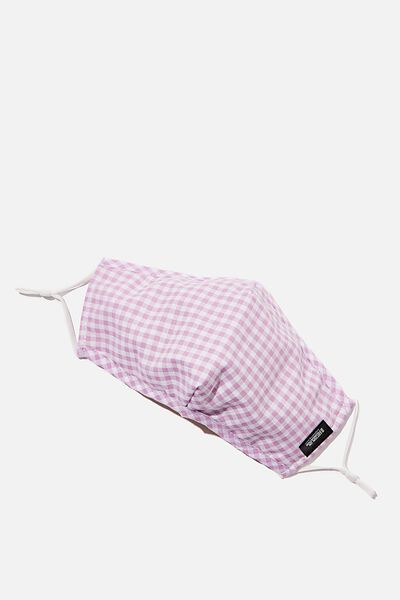 Foundation Face Mask Adults, LILAC GINGHAM