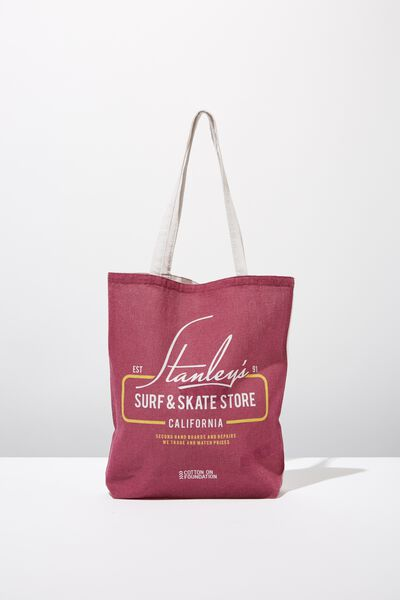 Cotton On Mens Foundation Tote, MAROON STANLEYS