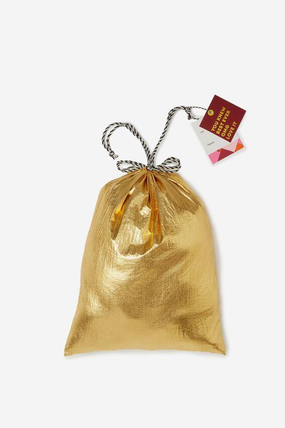 Christmas Gift Bag- Small, METALLIC GOLD