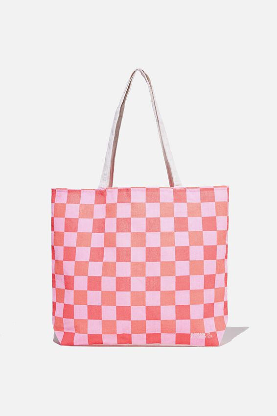 Foundation Co Brands Tote Bag, CORAL PINK CHECK