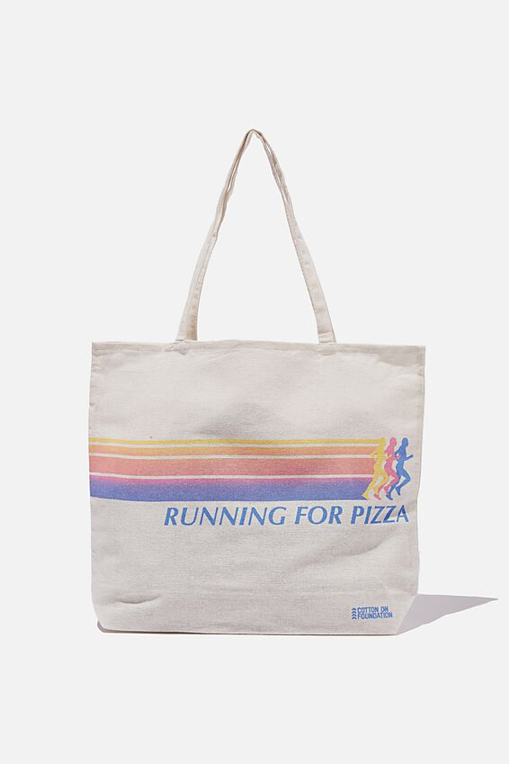 Foundation Co Brands Tote Bag, RUNNING FOR PIZZA