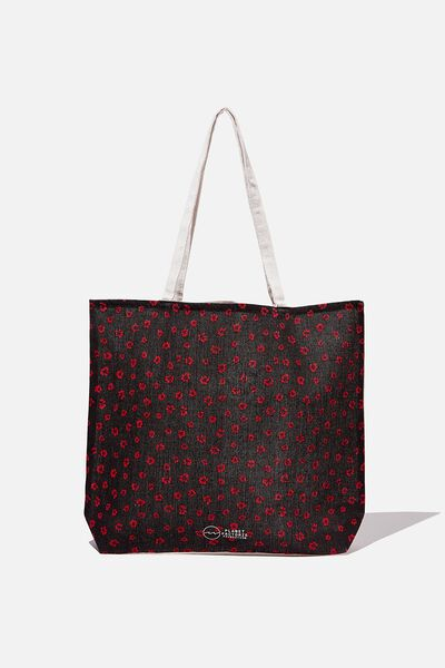Pf Foundation Tote Bags, BLACK RED DITSY