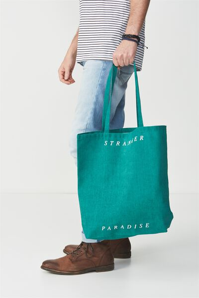 Cotton On Foundation Tote, GREEN STRANGER PARADISE