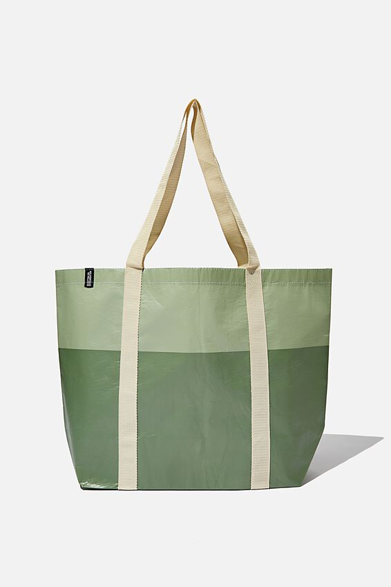 Foundation Recycled Large Shopper, Oil Green Tonal