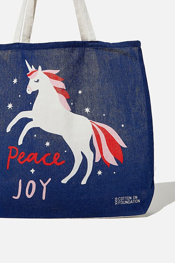 Foundation Kids Tote Bag, PEACY & JOY UNICORN