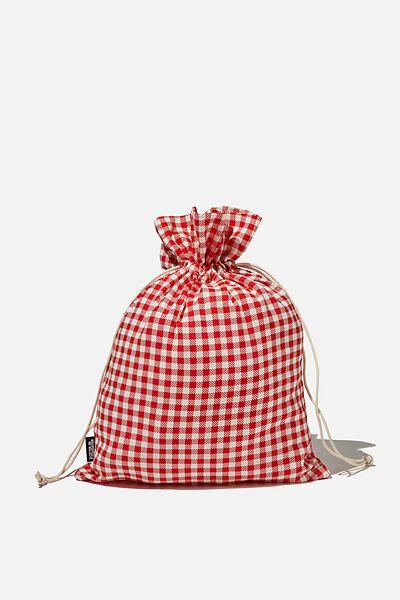Foundation Medium Gift Bag, RED GINGHAM