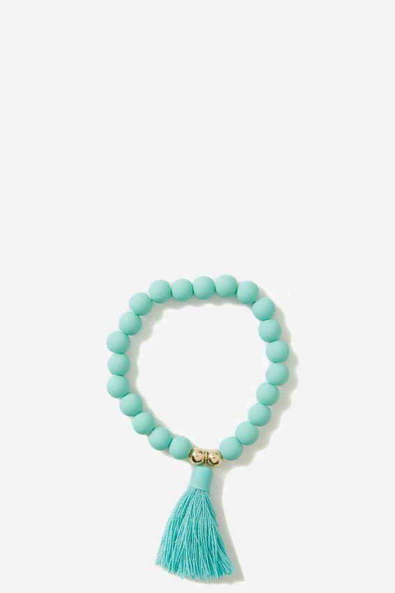 Fi Tassel Bracelet, TURQ/GOLD