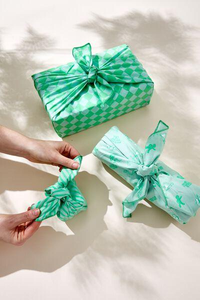 Foundation Body Fabric Gift Wrap Set, FESTIVE VACAY GREEN