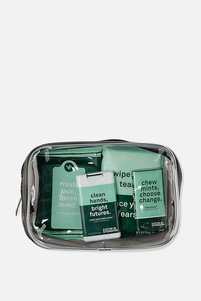Cof Travel Kit, GREEN STRIPE TRAVEL KIT