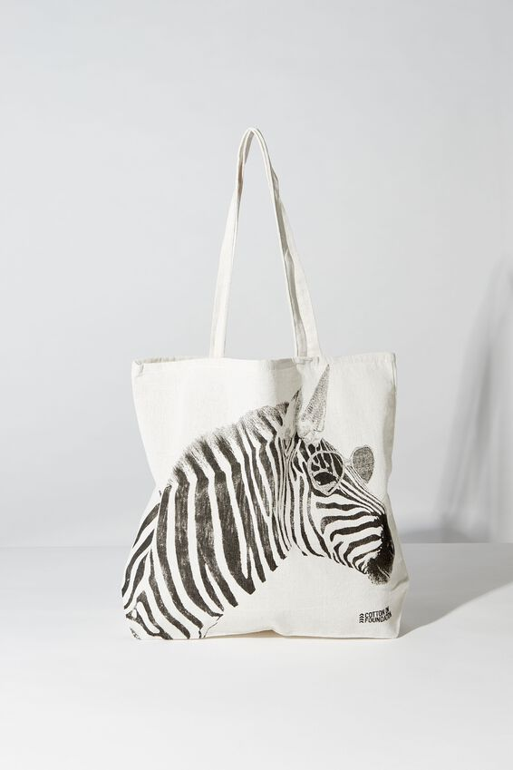 Typo Difference Tote Bag, ZEBRA