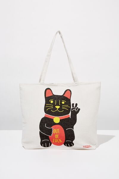 Typo Difference Tote Bag, LUCKY CAT