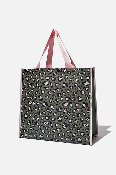 Recycled Large Shopper, SNOW LEOPARD