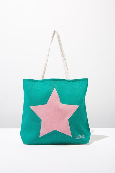 Body Tote Bag, GREEN STAR