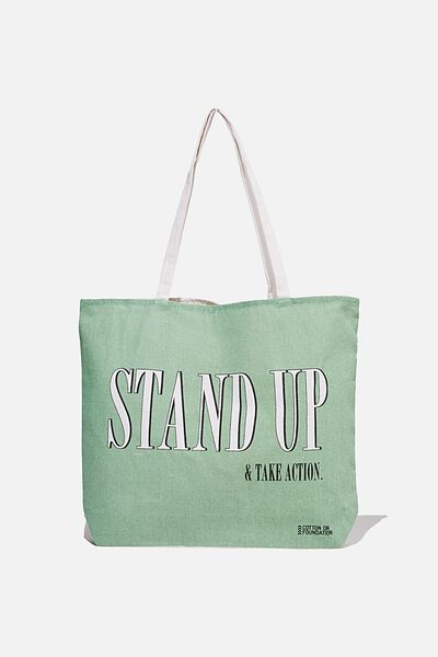 Foundation Co Brands Tote Bag, STAND UP MINT