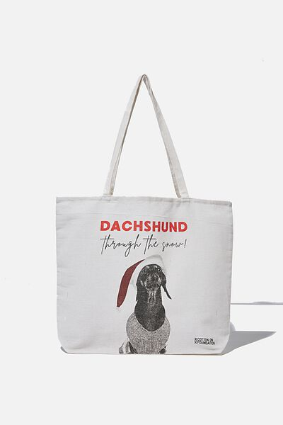 Typo Difference Tote Bag, DASHUND THROUGH THE SNOW